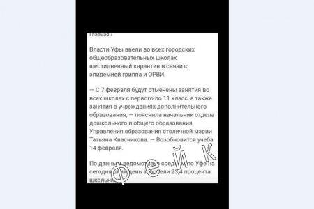 Роспотребнадзор Башкирии и власти Уфы опровергли сообщение о введении карантина в школах