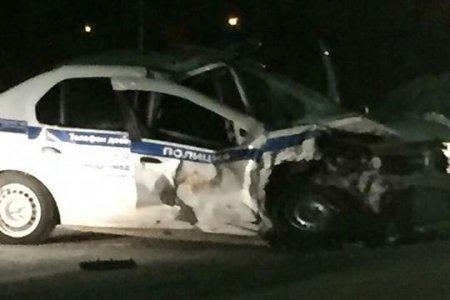 В Башкортостане пьяный водитель за рулем Hyundai Sonata врезался во встречную патрульную машину
