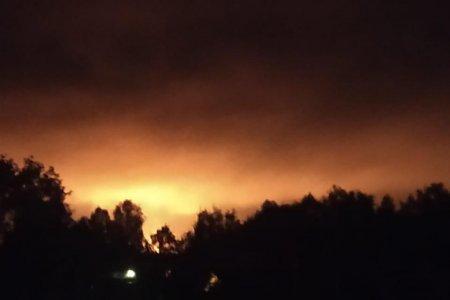 В Башкортостане жителей поселка Юматово напугал огненный столб